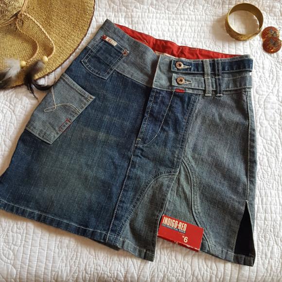 416d067234e3c Indigo Red Lux Industrial Denim Mini Skirt